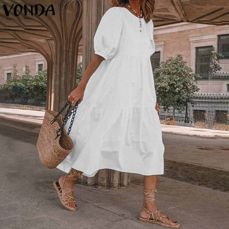 Summer Dress Vintage Sexy Lantern Sleeve Mid-Calf Dress Beach Bohemian Women'Summer Sundress 2021 VONDA Casual Vestido Plus Size