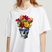 creative skeleton summer regular t shirt women soft casual white t shirts tops funny printed streetwear t shirt