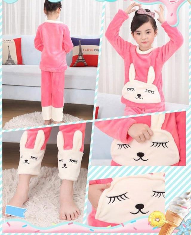 Winter Children Fleece Pajamas Thicken Warm Flannel Sleepwear Girls Loungewear Coral Fleece Kids Pyjamas 4 6 8 10 12 14 Years