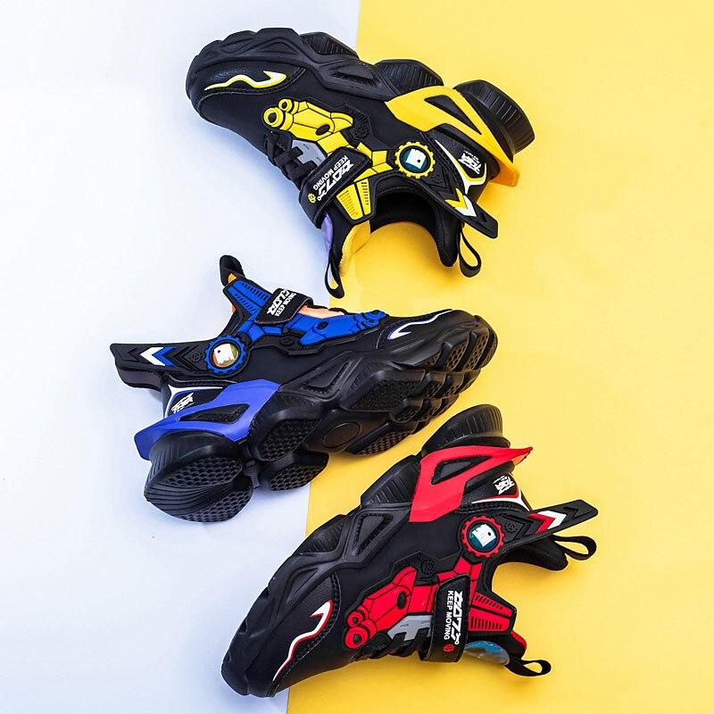 MWY الاطفال أحذية Mecha الكرتون أحذية رياضية للبنين خفيفة الوزن الأطفال الجلود مقاوم للماء أحذية المشي الفتيات الرياضة الاحذية