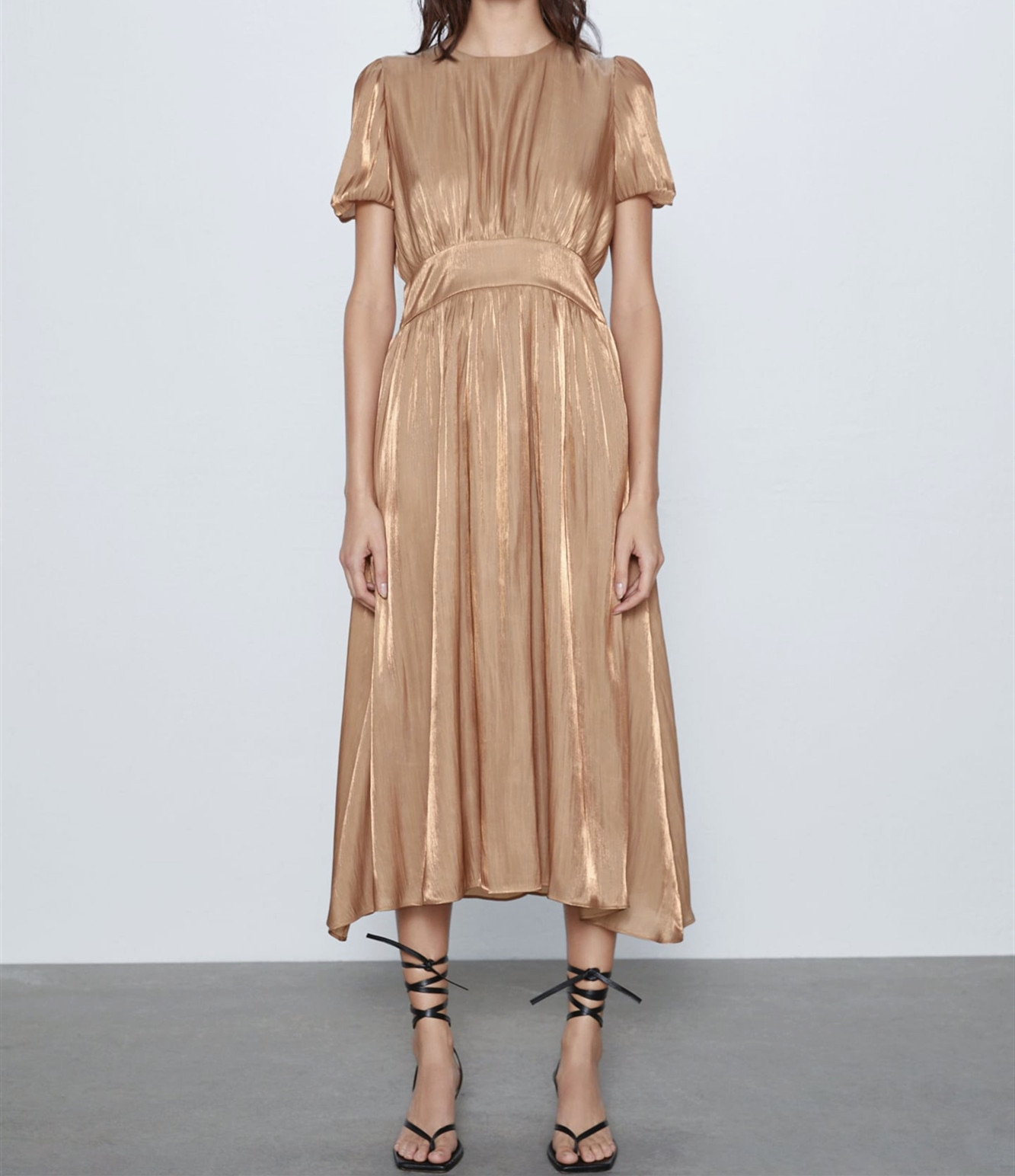 ZA elegante vestido Midi de verano para mujer 2020 Puff manga corta cremallera oculta en la espalda forro Interior femenino Formal Vestidos largos