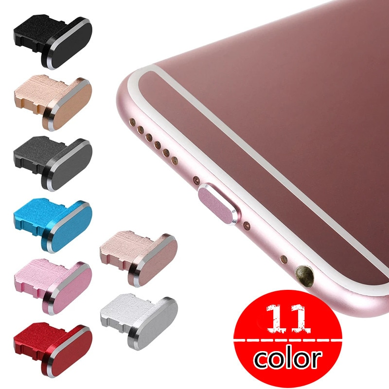 11 видов цветов 1 шт. цветная металлическая противопылевая заглушка зарядного устройства для IPhone 11 12 Pro MAX X XR Max 8 7 6S Plus-0