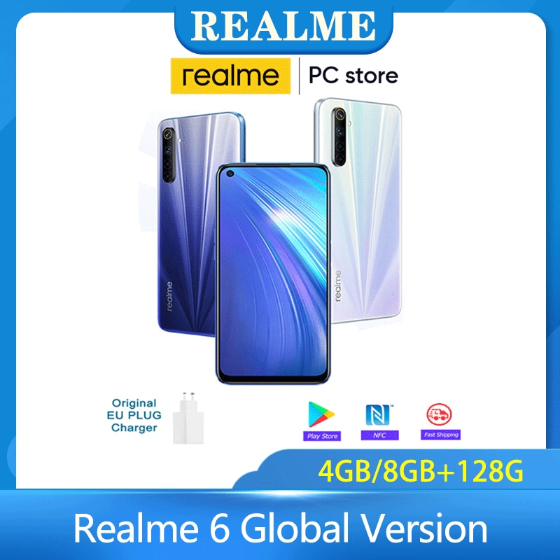 Realme 6 Global Version 4/8 128GB Mobile Phone 90Hz Display Helio G90T Smartphone 30W Flash Charge 4300mAh 64MP Camera Cellphone
