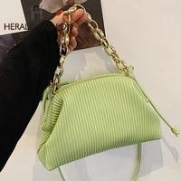 women handbag luxury brand metal chain dumpling clutches leather women crossbody bags high quality solid color lady shoulder bag