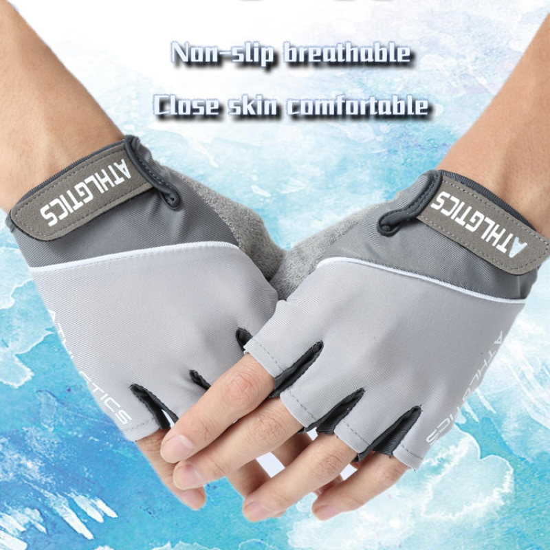 Spring and Summer Cycling Ice Silk Gloves Half Finger Cycling Gloves Sweat Absorbing Gloves for Men