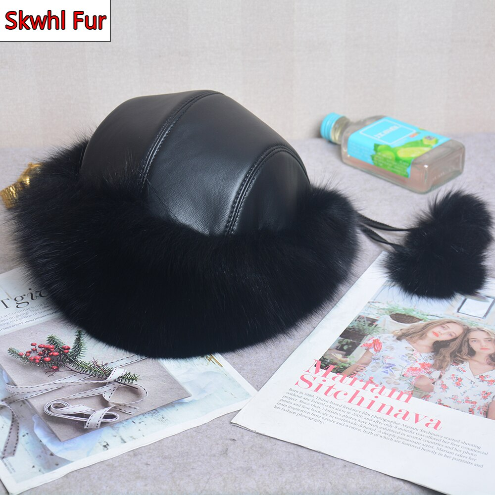 Winter Fur Hat Women Real Natural Fox Russian Hats Outdoor Thick Warm Bomber Ears Caps Luxury