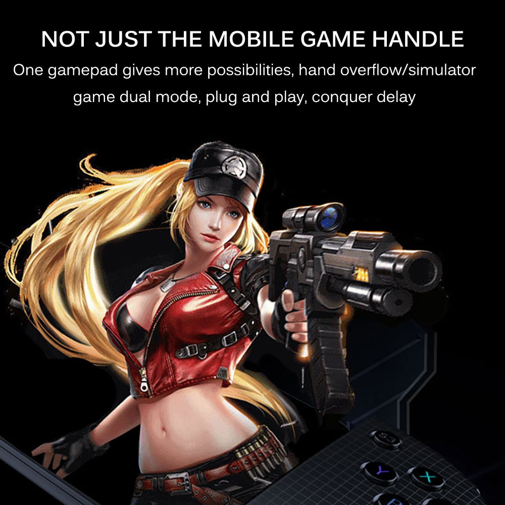 MINI Game Controller with Type C fast charging +Telescope phone holder Portable game handle joystick Sensitive buttons design enlarge