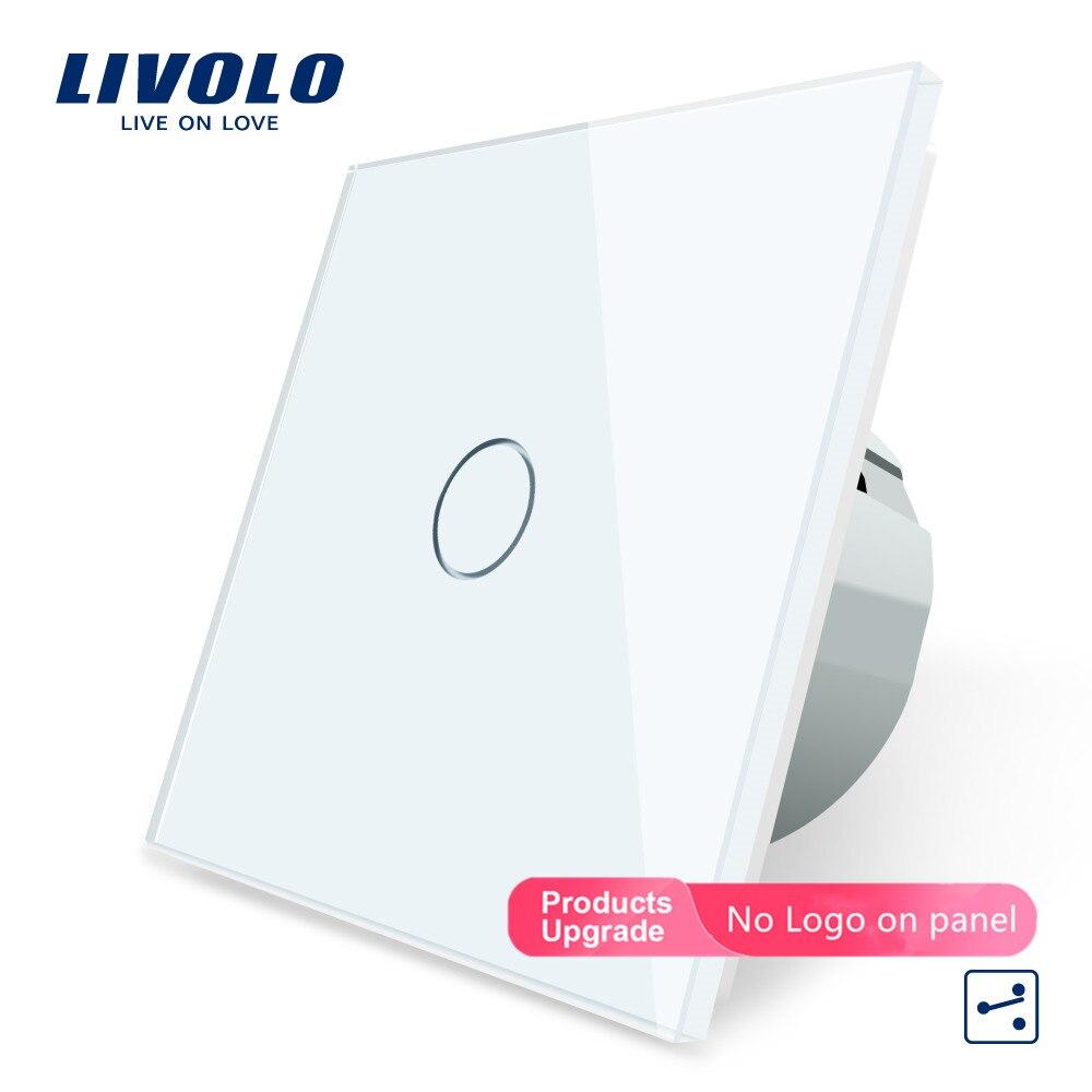 الأصلي Livolo الاتحاد الأوروبي القياسية الجدار التبديل ، 1 عصابة 2 طريقة التحكم ، كريستال لوحة زجاج ، الذكية التبديل VL-C701S-11/12/15