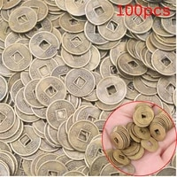100pcs chinese ancient feng shui lucky coin dragon and phoenix antique wealth money good fortune home car decor 10mm