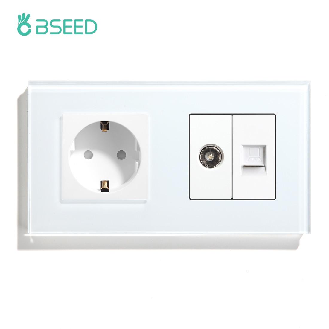 BSEED-مقبس حائط فردي ، مقبس حائط قياسي أوروبي ، مع تلفزيون ، كمبيوتر شخصي ، لوحة زجاجية كريستالية ، أبيض ، أسود ، ذهبي ، 110 فولت ، 250 فولت