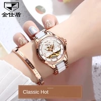 watch fashion diamond hollow watch ceramic mechanical watch waterproof watch womens watch