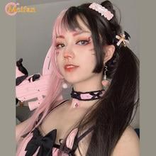 MEIFAN demi noir demi rouge Cosplay Anime ondulé bouclés fête femmes résistance à la chaleur synthétique Costume Ombre cheveux perruque