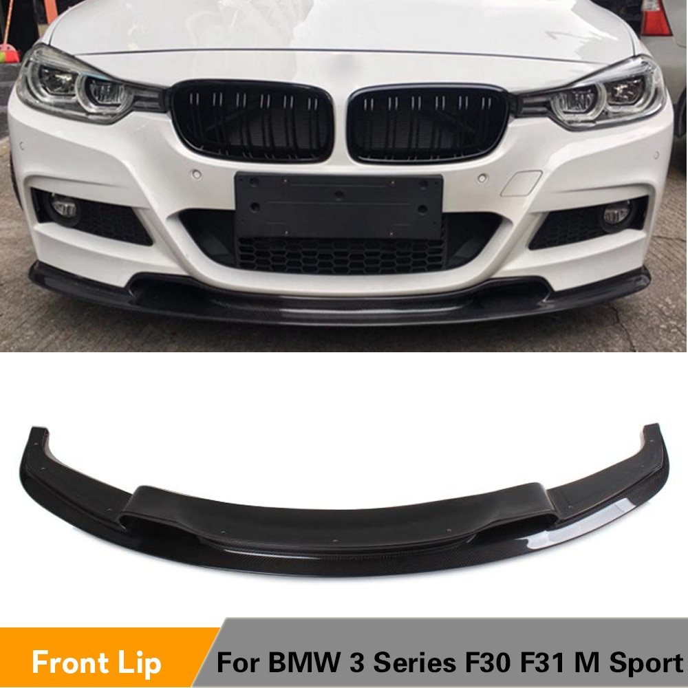Delantal de perfil de alerón delantero negro de fibra de carbono/FRP para BMW Serie 3 F30 F31 320i 328i 335i M Sport Sedan de 4 puertas 2012 - 2016