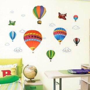 Chico niños/dibujos animados/aula globo de aire caliente fuego fondo con globos pegatina pintura palo