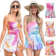 YG brand women's summer knitting fashion casual Jumpsuit sling tie dyed beach bra shorts