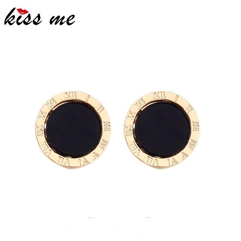 Pendientes kissme minimalistas redondos con pasador para mujer, único, abstracto, Número Romano, acrílico, agujero negro, Clip para oreja, joyería de moda