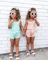 summer 0 5y kids baby girls rompers overalls solid sleeveless belt jumpsuits lovely clothes set