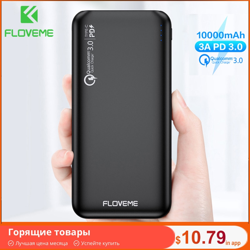 FLOVEME QC3.0 Power Bank 10000mAh Quick Charge 3.0 For Xiaomi Powerbank 10000 mAh PD Poverbank External Battery Portable Charger