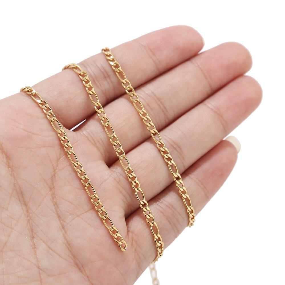 Изысканная цепь 3 мм из нержавеющей стали с полированным золотым тоном, панцирная цепь, аксессуары «сделай сам», ожерелье, браслет, ювелирны... браслет цепь opk 856 ph856