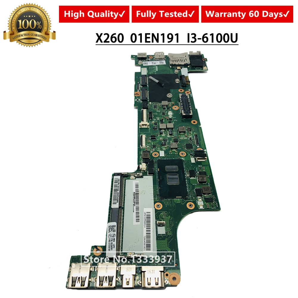 Placa base 01EN191 para lenovo ThinkPad X260 placa base para ordenador portátil con I3-6100U