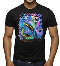 Men's Neon Black Light Cosmo Shark Tee Black T-Shirt Black(2)