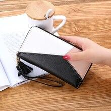 Women's Wallet Geometric Luxury Patchwork Long Zipper Coin Purses Female Tassel Leather Card Holder