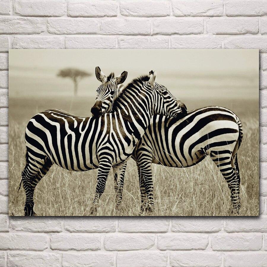 Pósteres impresos con marco de madera y tela para decoración del hogar sala de estar monocromática zebras nacionales animales salvajes de sabana africana EX392