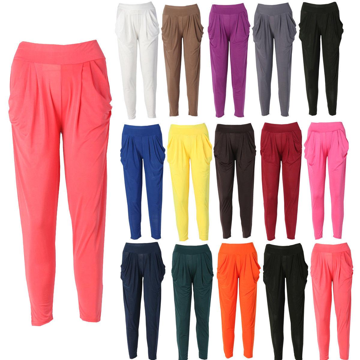 New Hot Women Fashion Solid Color Long Pants Legging Trouser High Waist Elasticity Harem Baggy Dance