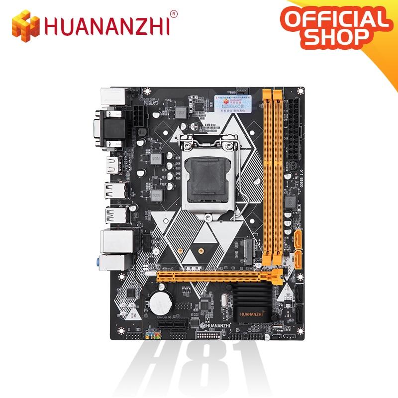 HUANANZHI H81 Motherboard M-ATX Intel LGA 1150 i3 i5 i7 E3 DDR3 1333/1600MHz 16GB M.2 SATA3 USB3.0 VGA DVI HDMI-Compatible