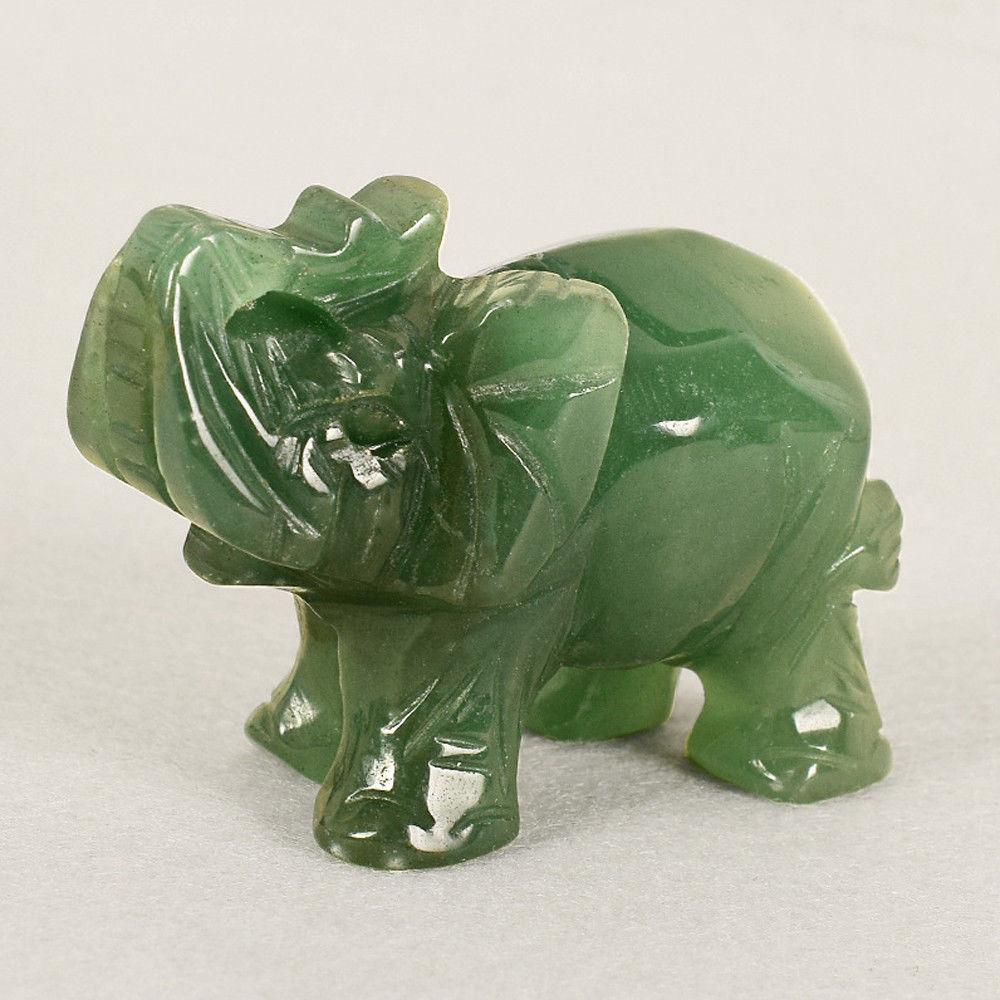 Estatua de la suerte de elefante de La Fortuna, Jade, Aventurina, verde, Feng Shui, ornamento de oficina, piedras curativas, decoración de estatuas