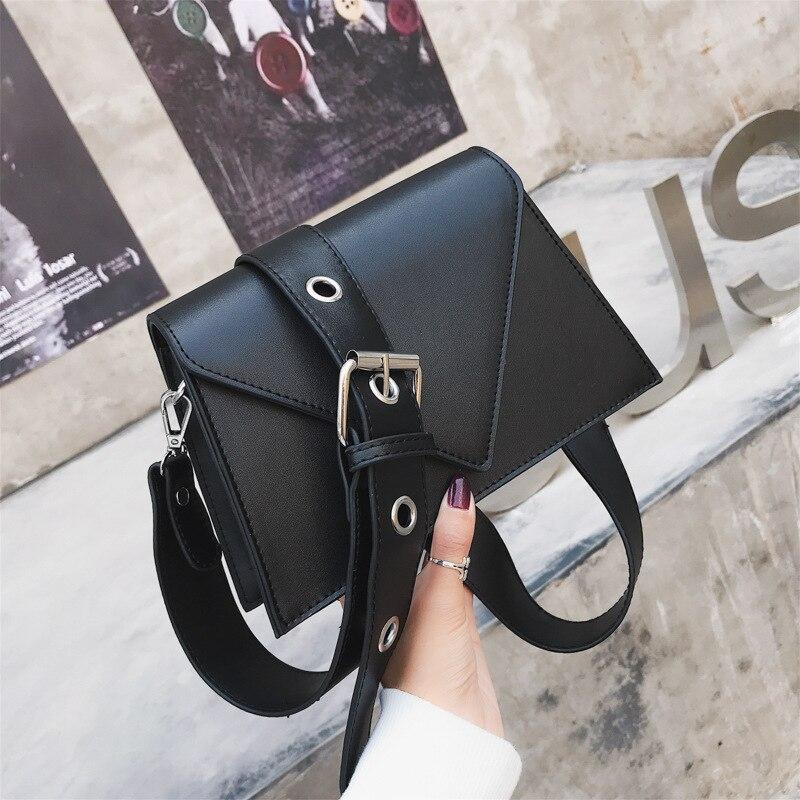 De moda pequeña solapa de cinturones anchos mujeres bolsas de hombro de lujo de cuero Pu bandolera cruzada mujer Chic bolsos 2019 Sac