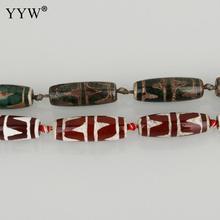 8 قطعة/حبلا الطبيعية التبتية الخرز Dzi الأبيض الأحمر خمر الأخضر حجر النمر الأسنان تباع في حوالي 14.5 بوصة ستراند