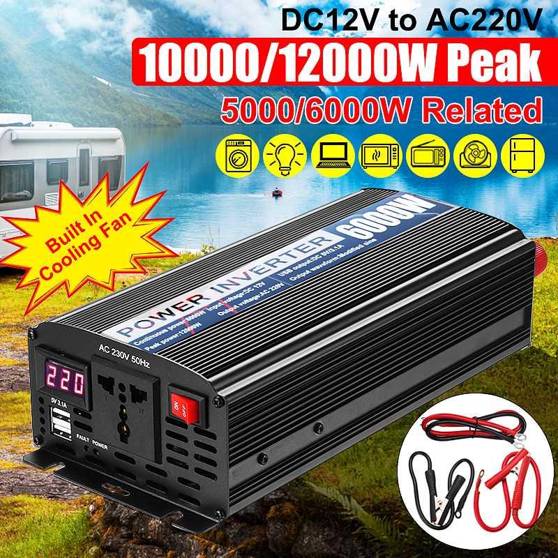 Transformador de voltaje Modifie, inversor de potencia de onda sinusoidal DC12V a AC220V + 2 pantalla LED, 12V, 220V, 4000/10000 W