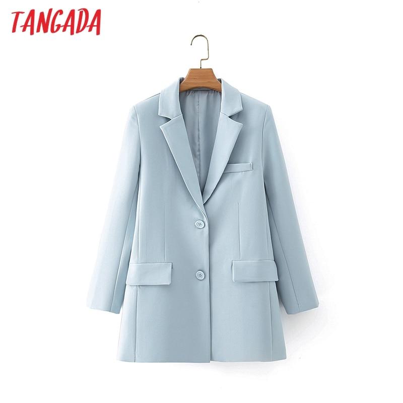Tangada-جاكيت بليزر نسائي أزرق ، عتيق ، ياقة مسننة ، جيب ، موضة ، كاجوال ، شيك ، DA09 ، 2021