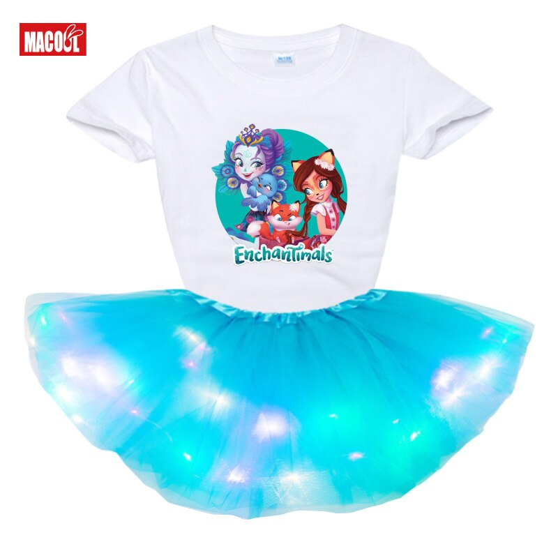 Conjunto de ropa de verano ropa de niños niñas Tutu Vestido 2 uds bebé niño niños LED de luz vestido de fiesta los niños t camisa enchantimals traje