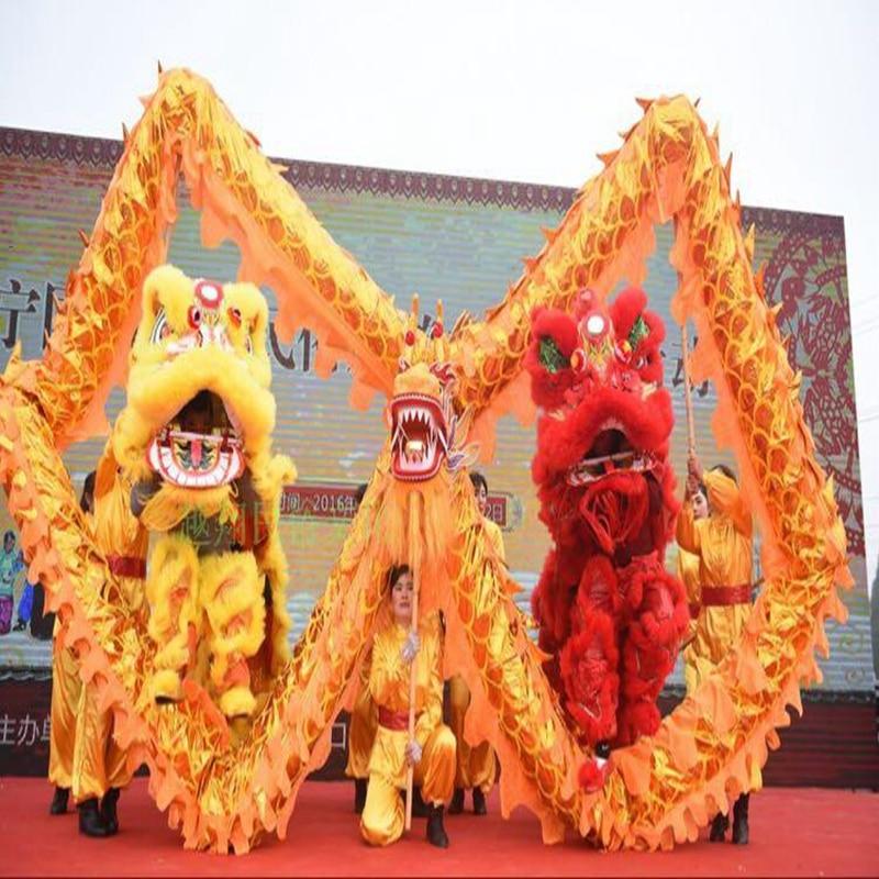 7m Golden Length Dragon Dance Costume 6 Players Children Student School  Art Halloween Party Performance Parade Folk Stage