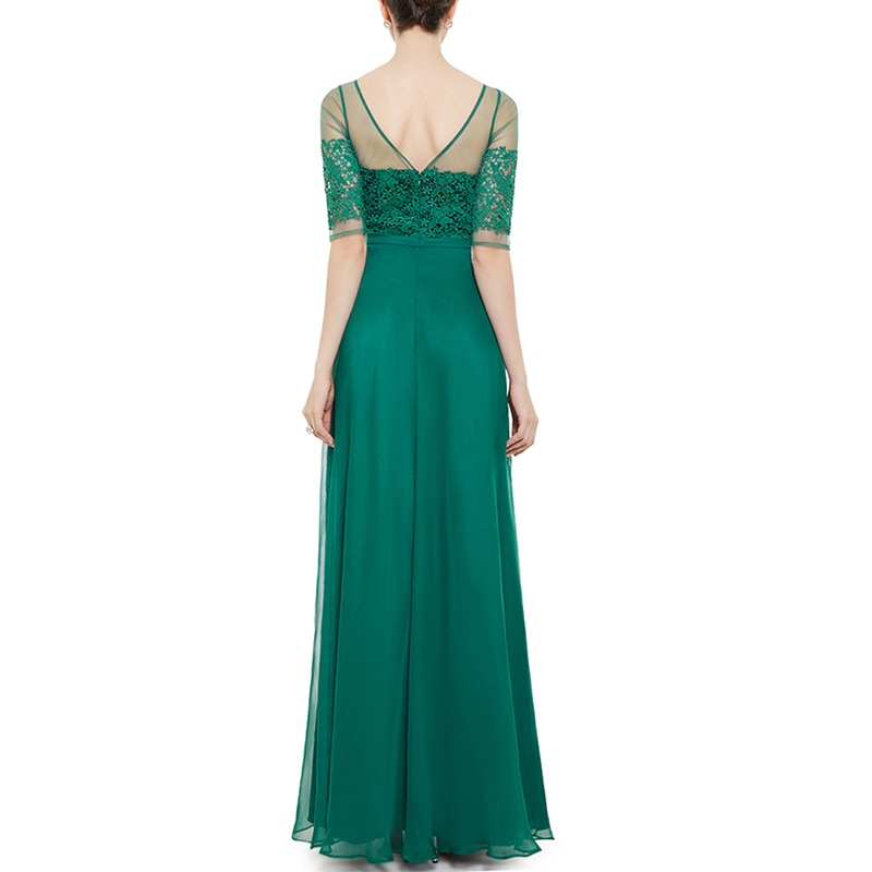 Prom Dress Elegant Lace Short Sleeve Backless Sexy Maxi Evening Dresses Plus Size Party Arabic Ball Luxury Beautiful Gown