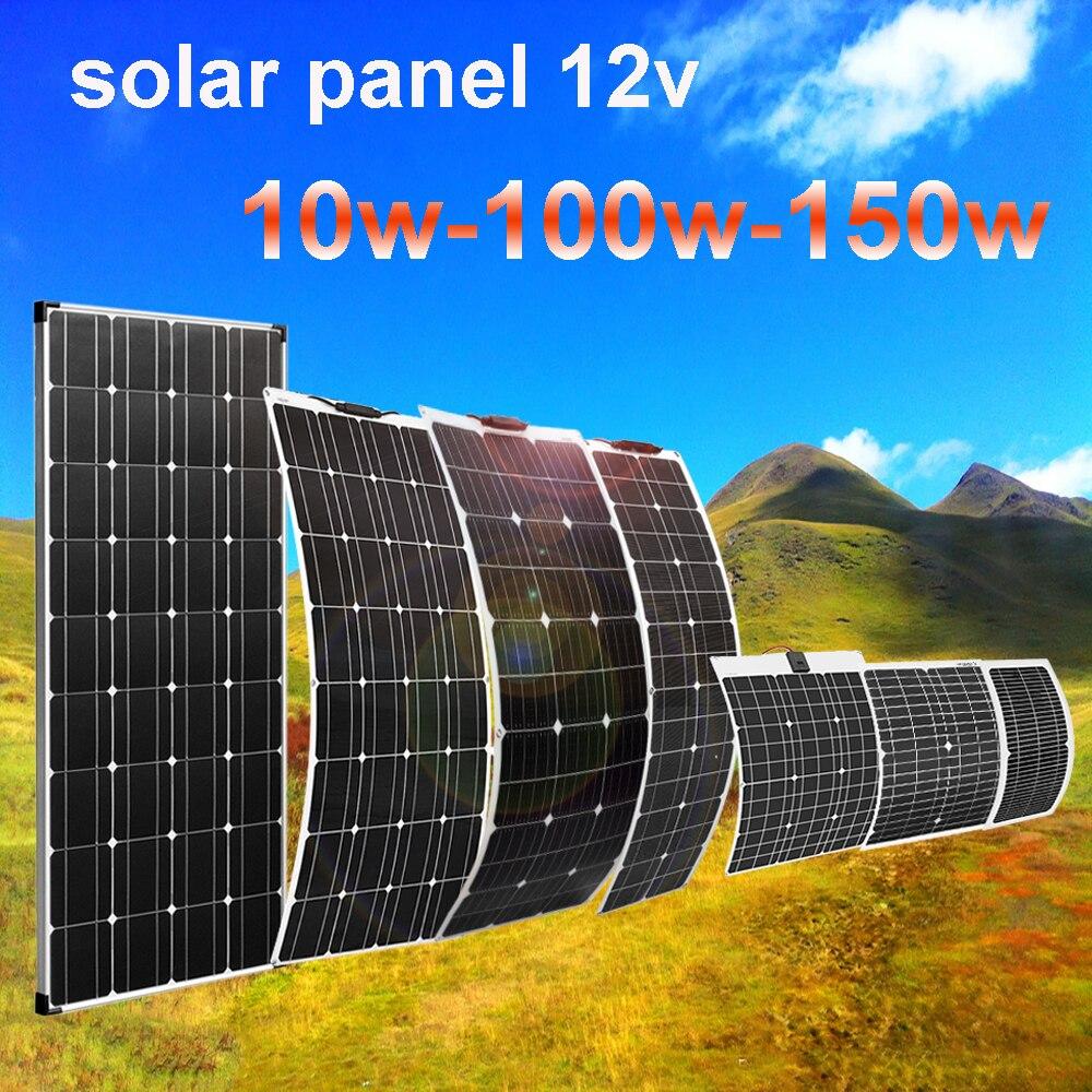لوحة طاقة شمسية مرنة 5 فولت 12 فولت مجموعة خلايا شمسية صغيرة كاملة 150 واط 100 واط 50 واط شاحن بطارية تمديد كابل 20 متر لسيارة قارب التخييم