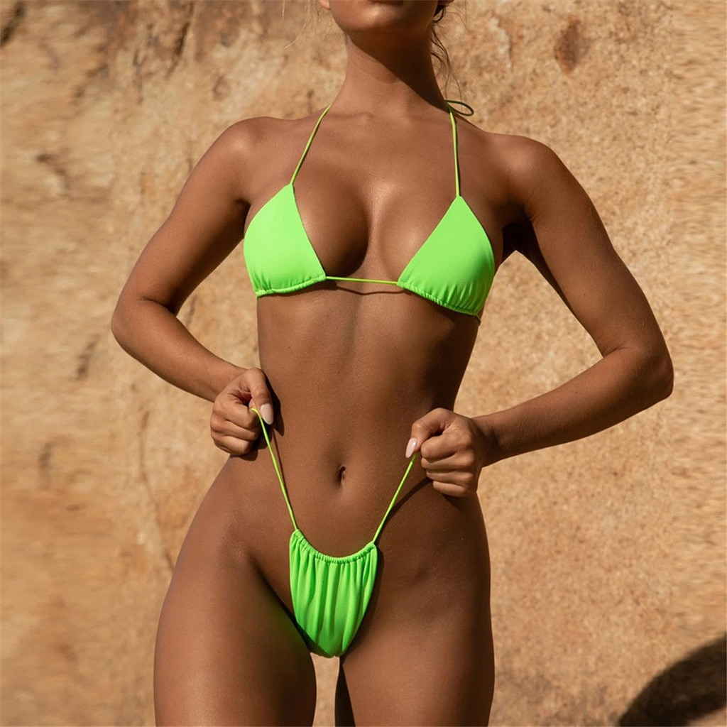 Swimsuit Women Neon Bandeau Bandage Bikini Set Push-Up Brazilian Swimwear Beachwear bikini 2021 Thong maillot de bain femme