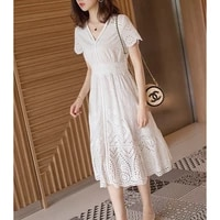 2019 new spring high end french niche temperament ladies v neck short sleeved dress in the long section