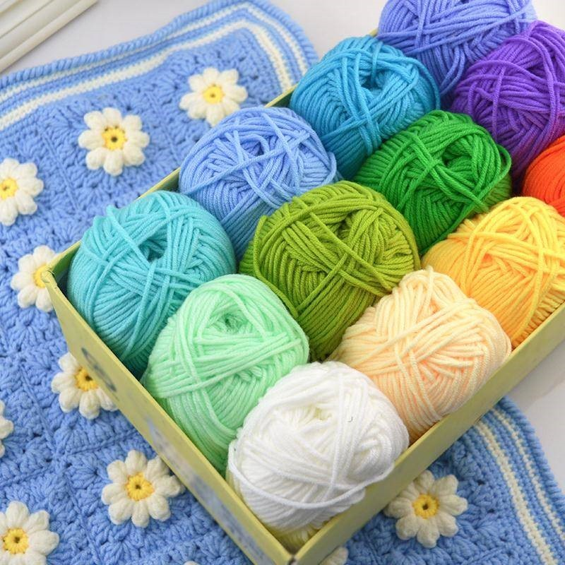 Fio 50g/bola para tricô, lenço de leite e algodão para inverno, manta para bebê, faça você mesmo, fio têxtil