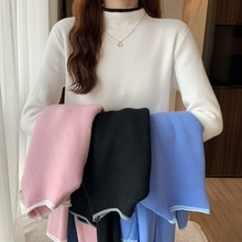Autumn and Winter New Style Single-Layer Fleece-Lined Half-High Collar Long Sleeves Pullover Sweater