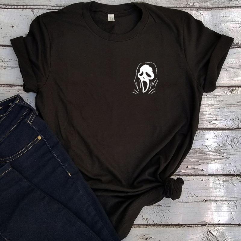 Женская рубашка с принтом из фильма «ужасы» и круглым вырезом