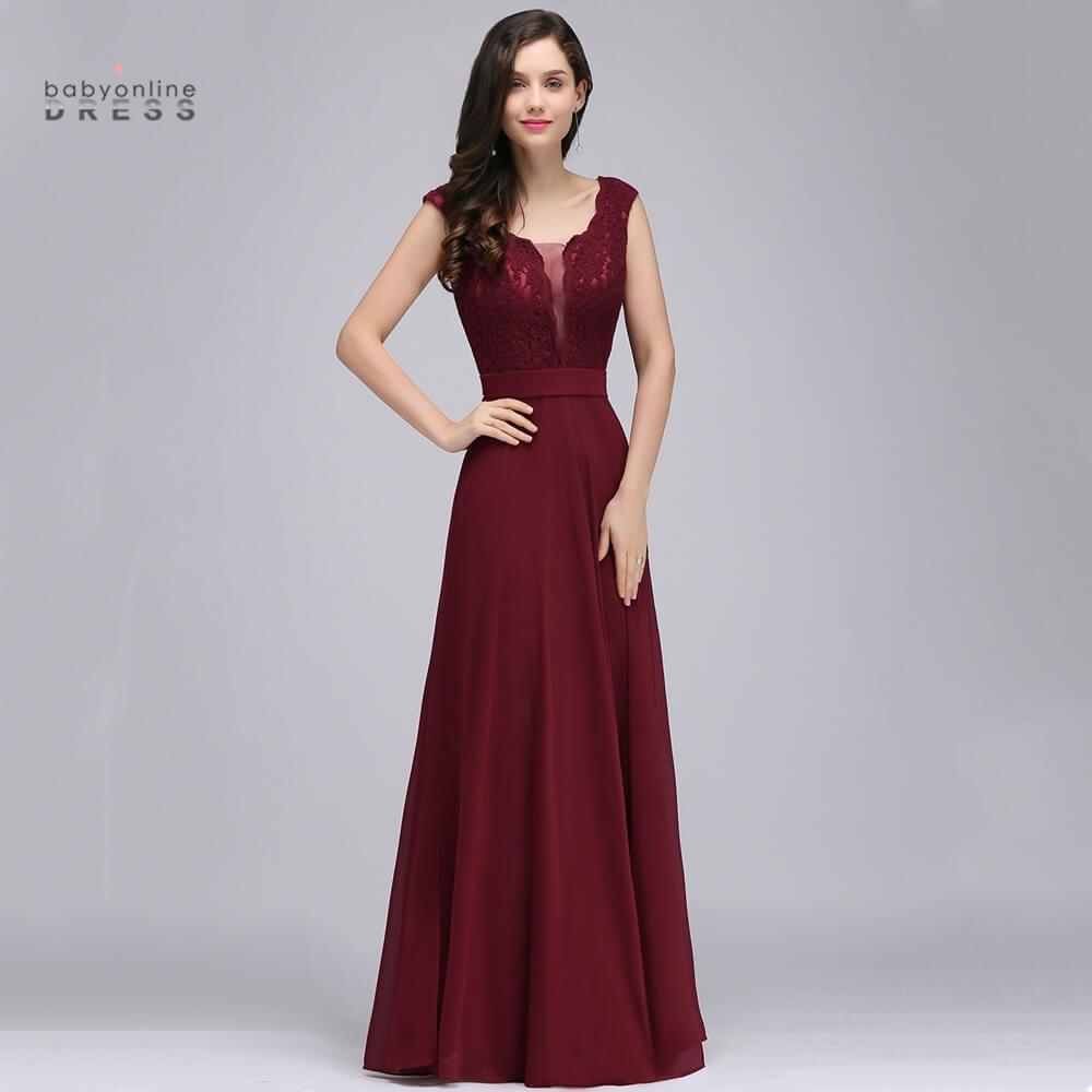 Babyonlinedress 50 Colors V Neck Lace Chiffon Bridesmaid Dresses Tank Sleeves Wedding Party Dress robe de soirée de mariage недорого