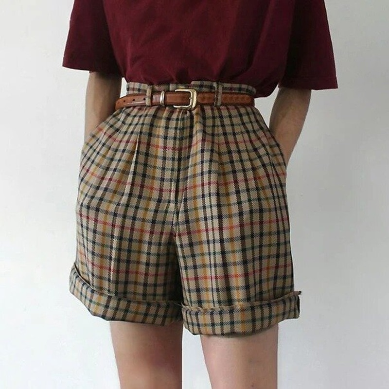 Summer Women England Style Mid-Waist Vintage Striped Shorts Crimping Shorts Preppy Style Fashion Streetwear Straight Clothing  - buy with discount