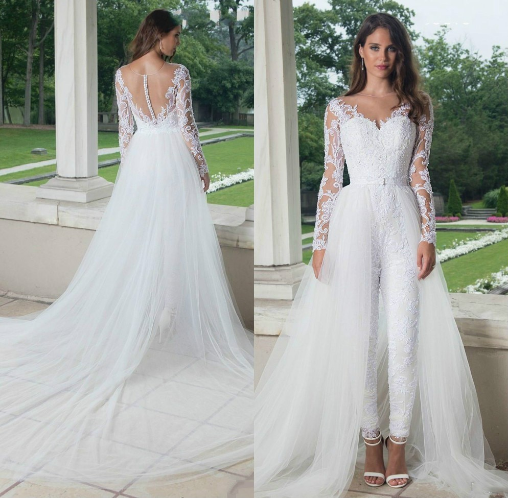 2020 Modest Jumpsuit Wedding Dresses Sweep Train Overskirt V Neck Long Sleeves Illusion Lace Applique Bridal Gown