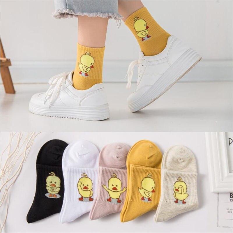 1 par de calcetines cómodos de algodón de las señoras nueva moda todas las estaciones de dibujos animados Animal bordado serie mujeres fresco Harajuku Crew Calcetines