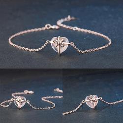 Nova moda de luxo rosa coração cristal pingente pulseira charme rosa ajustável corrente jóias presente bowknot ouro para mulher brac v4e5
