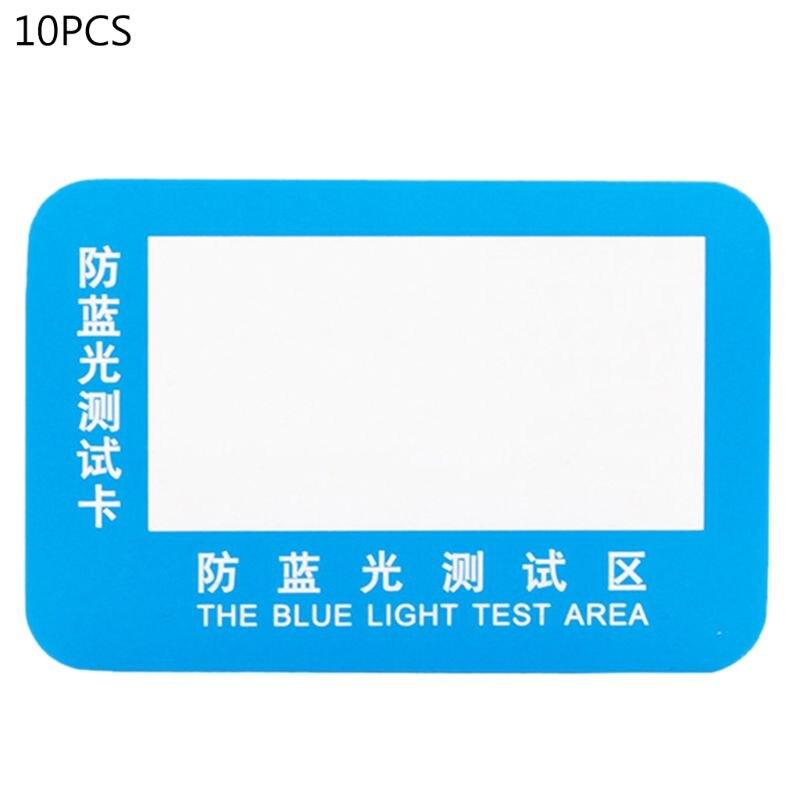30 Uds PVC Anti-Luz Azul tarjeta de prueba gafas de prueba de luz azul Tarjeta de detección de luz azul