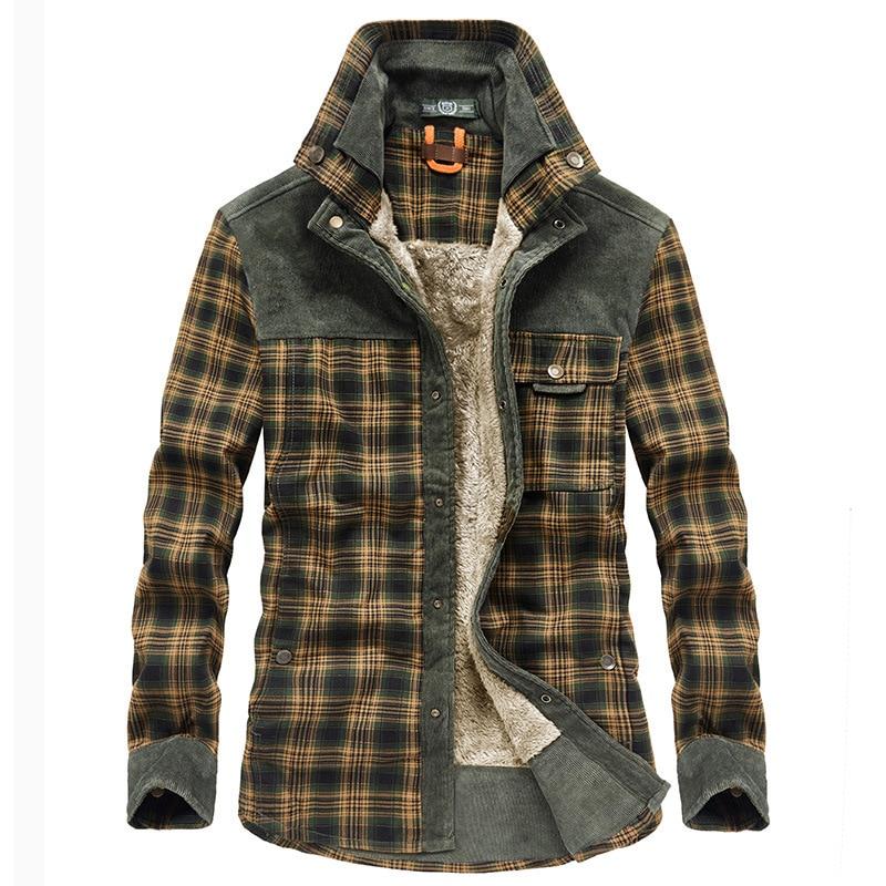 Новинка 2021, Брендовые мужские зимние клетчатые куртки, толстые хлопковые теплые пальто с длинным рукавом, одежда, мужская куртка в европейс...